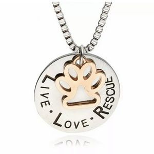 Jewelry - Live Love Rescue Necklace Charm Paw Silver…
